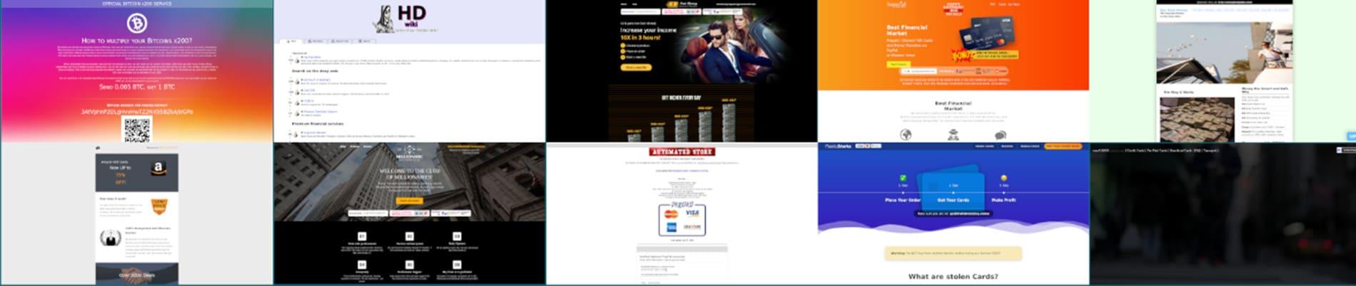 Capture d'écran des pages accueil des 10 sites les plus dupliqués sur le Dark Web