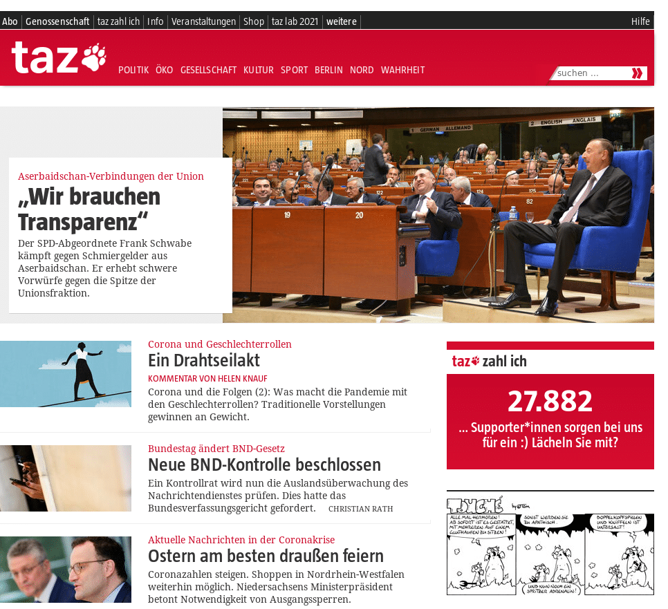 Capture d'écran du miroir Tor Die Tageszeitung