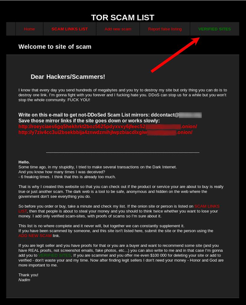 Scam List Of Tor - Miroir leurre