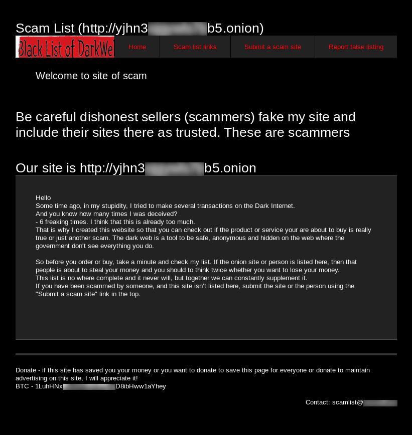 Scam list Of Tor - Site original