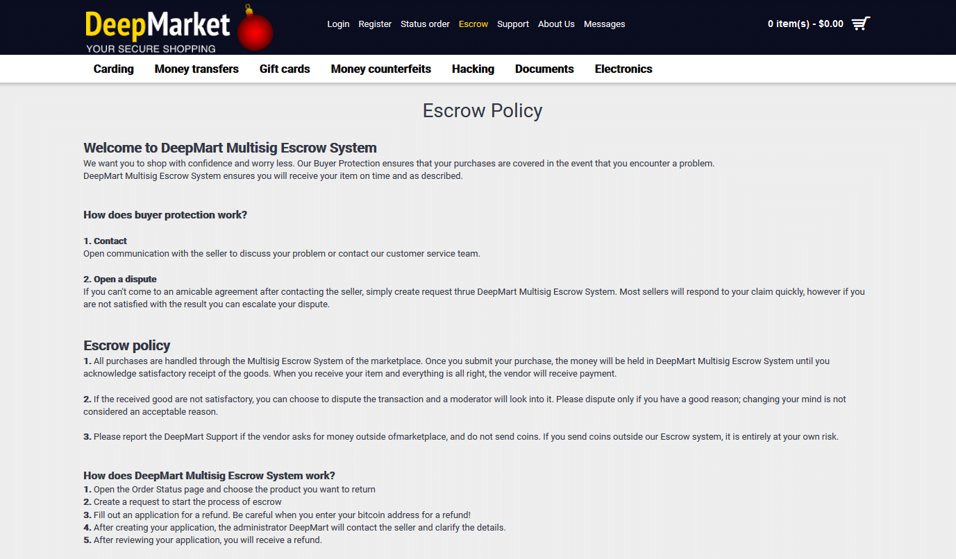 Système d'escrow du site DeepMarket