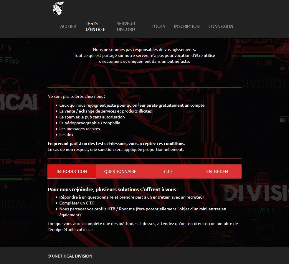 Conditions d'accès au site Unethical Division